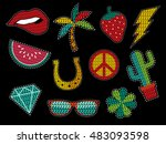 set of fashion patch icons with ... | Shutterstock .eps vector #483093598