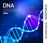 dna on dark blue background... | Shutterstock .eps vector #483093832