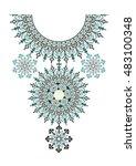 vector ethnic necklace...   Shutterstock .eps vector #483100348