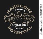 hardcore training. emblem  t...   Shutterstock .eps vector #483104926