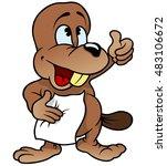 little beaver   cartoon... | Shutterstock .eps vector #483106672