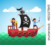 Kids Pirate Ship With Boy And...
