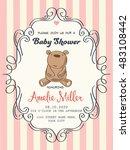 delicate baby girl shower card  ... | Shutterstock .eps vector #483108442