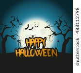 happy halloween message design... | Shutterstock .eps vector #483112798
