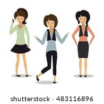 set with cute fashion girls  ... | Shutterstock .eps vector #483116896