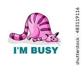 vector illustration. lazy pink...   Shutterstock .eps vector #483119116
