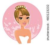 beautiful lady wearing white... | Shutterstock .eps vector #483123232