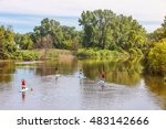 group of people paddleboarding... | Shutterstock . vector #483142666