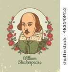 portrait of william shakespeare.... | Shutterstock .eps vector #483143452