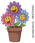 cute cartoon flowers on a...