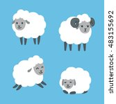cute cartoon sheep set.... | Shutterstock .eps vector #483155692
