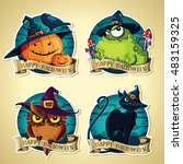 set of halloween vintage vector ... | Shutterstock .eps vector #483159325