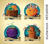 set of halloween vintage labels ... | Shutterstock .eps vector #483160048