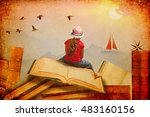 Small photo of Little Girl sitting on the open books.She looks at sailing boat and migrating birds over the mountains.Childhood dreams, creature and education concept.Wondering world.Textured paper abstract collage
