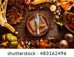 thanksgiving dinner. autumn... | Shutterstock . vector #483162496