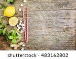 mint lemonade with ginger ... | Shutterstock . vector #483162802