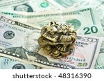 three pad frog with a coin on...   Shutterstock . vector #48316390