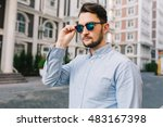 portrait of stylish dark haired ... | Shutterstock . vector #483167398