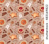 seamless pattern. gingerbread... | Shutterstock . vector #483169822