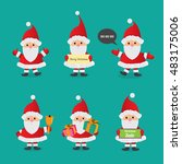 set of christmas santa claus.... | Shutterstock .eps vector #483175006