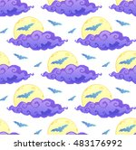 violet clouds  yellow moon and... | Shutterstock .eps vector #483176992