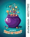 halloween vintage vector poster.... | Shutterstock .eps vector #483177502