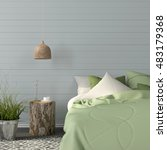 3d illustration of bedroom... | Shutterstock . vector #483179368