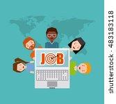 job opportunity online flat... | Shutterstock .eps vector #483183118