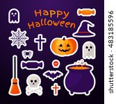 set of halloween ribbons and...   Shutterstock .eps vector #483185596