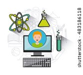 data science online flat icons... | Shutterstock .eps vector #483186118