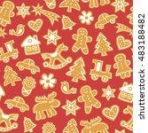 christmas gingerbread cookies   ... | Shutterstock .eps vector #483188482