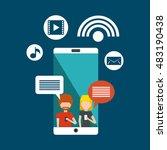 mobile social media flat icons... | Shutterstock .eps vector #483190438