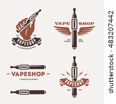 set of vaping related labels.... | Shutterstock .eps vector #483207442