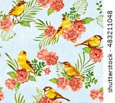 vivid repeating floral   for... | Shutterstock . vector #483211048