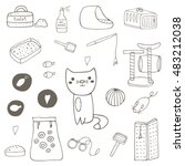 Stock vector cute hand drawn doodle cat stuff objects including cage mice toy ball toilet bed playground 483212038