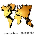 3d illustration. golden world... | Shutterstock . vector #483212686