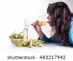 white wine in bottle and glass... | Shutterstock . vector #483217942