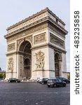 arc de triomphe de l'etoile on... | Shutterstock . vector #483235858