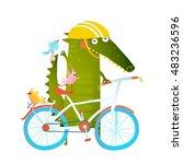cartoon green funny crocodile... | Shutterstock .eps vector #483236596