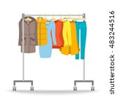 hanger rack with warm women... | Shutterstock .eps vector #483244516