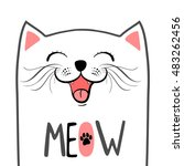 funny cat illustration with... | Shutterstock .eps vector #483262456