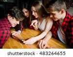 group of young friends hanging... | Shutterstock . vector #483264655