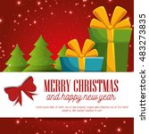 card merry christmas and new... | Shutterstock .eps vector #483273835