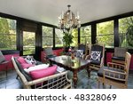 porch in luxury home with black ... | Shutterstock . vector #48328069