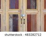 large wooden doors  the thai... | Shutterstock . vector #483282712
