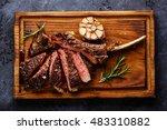 sliced grilled medium rare... | Shutterstock . vector #483310882