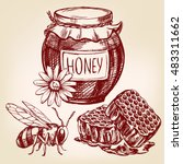 honey elements set hand drawn... | Shutterstock .eps vector #483311662