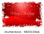 writing merry christmas on red... | Shutterstock . vector #483313366