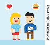 pixel art game style office... | Shutterstock .eps vector #483319435