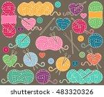 cute vector collection of balls ... | Shutterstock .eps vector #483320326